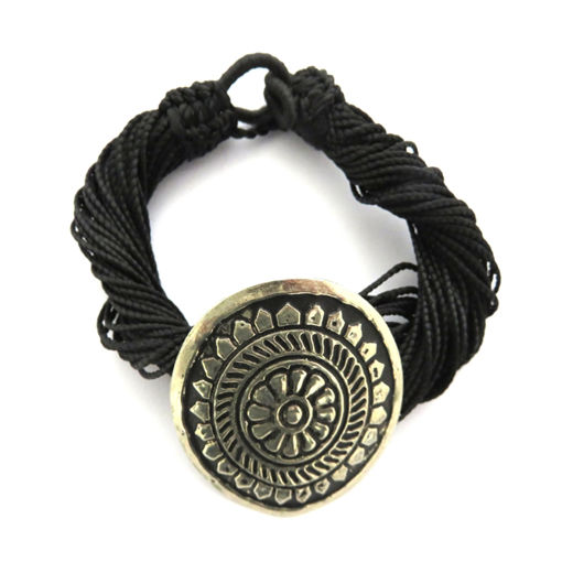 Picture of Bracelet - Multi-stranded / Metal Pendant (Black)
