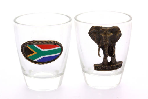 Picture of Tot Glass  - Set of 2 (Elephant / SA Flag)