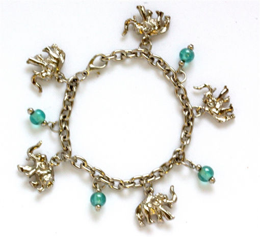 Picture of Charm Bracelet - Elephant (Green Beads)
