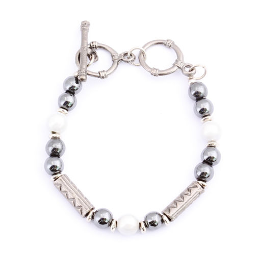 Picture of Bracelet - Hematite (White Beads)