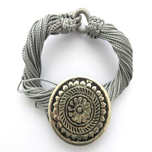 Picture of Bracelet - Multi-stranded / Metal Pendant (Grey)