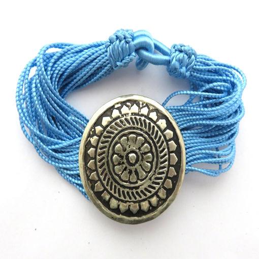 Picture of Bracelet - Multi-stranded / Metal Pendant (Light Blue)