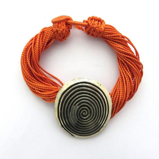 Picture of Bracelet - Multi-stranded / Metal Pendant (Orange)