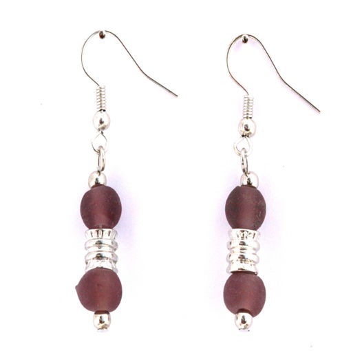 Picture of Earrings - Glass Foiled Beads (Amethyst)