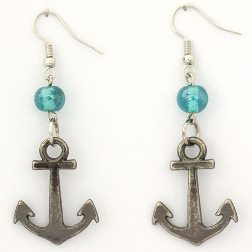Picture of Earrings - Anchor (Turquoise Glass Beads)