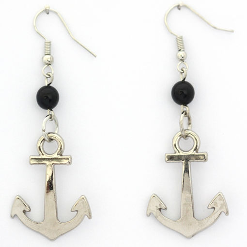 Picture of Earrings - Anchor (Black Glass Beads)