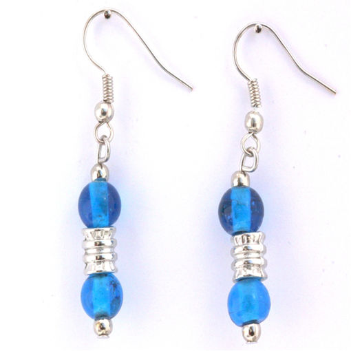 Picture of Earrings - Glass Foiled Beads (Blue)