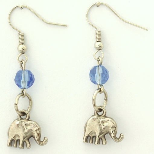 Picture of Earrings - Elephant (Blue Glass Beads)