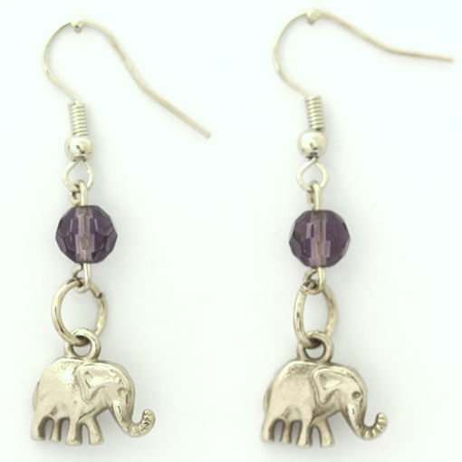 Picture of Earrings - Elephant (Purple Glass Beads)