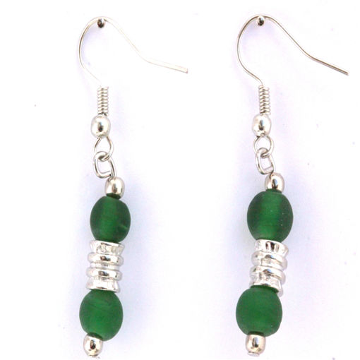 Picture of Earrings - Glass Foiled Beads (Green)
