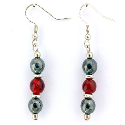 Picture of Earrings - Hematite (Red Beads)