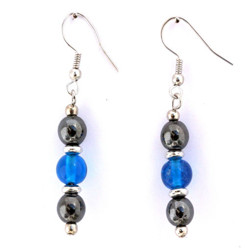 Picture of Earrings - Hematite (Turquoise Beads)