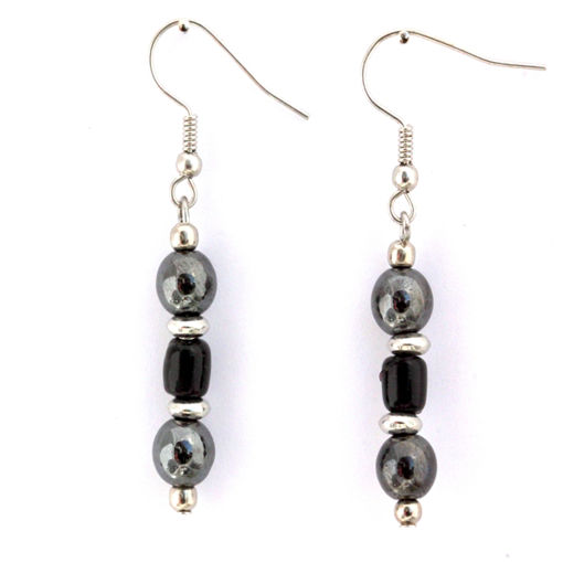 Picture of Earrings - Hematite (Black Beads)