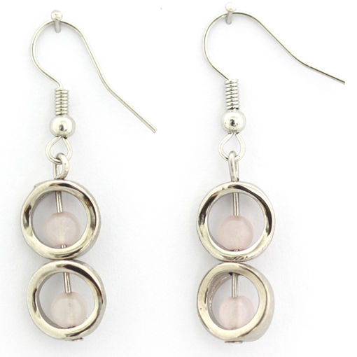 Picture of Earrings - Stone / Metal (Rose Quartz)