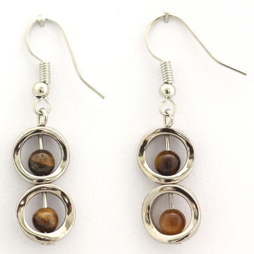 Picture of Earrings - Stone / Metal (Tigers Eye)