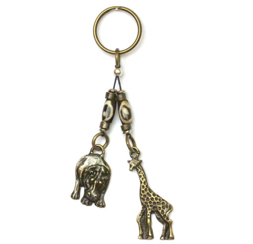 Picture of Key Ring - Double Breaded Bone / Metal (Wildlife)