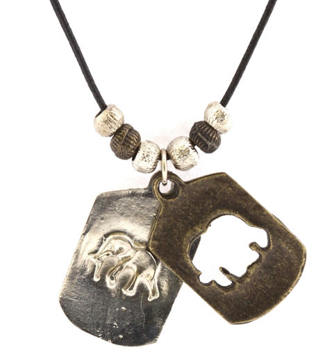 Picture of Necklace - Double Pendant (Elephant)