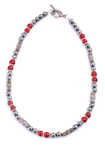 Picture of Necklace - Hematite (Red Beads)