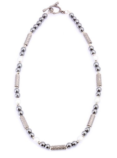 Picture of Necklace - Hematite (White Beads)