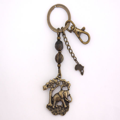Picture of Key Ring - Agate Stone (Elephant under Tree)