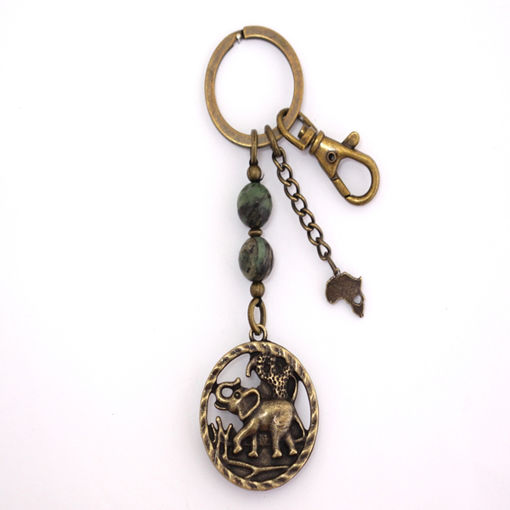 Picture of Key Ring - Agate Stone (Elephant Framed)
