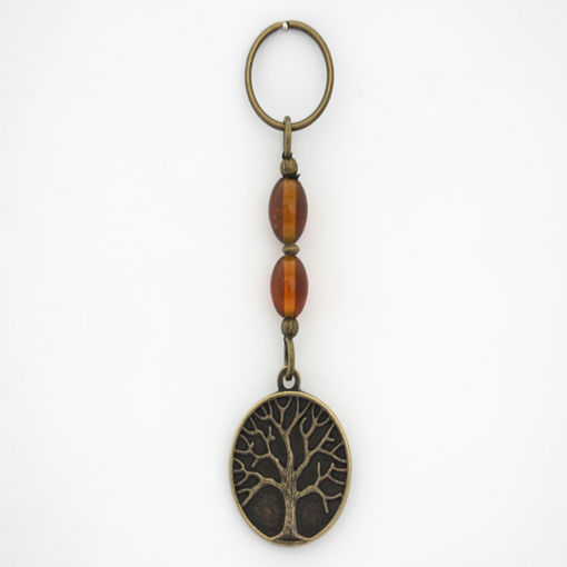 Picture of Key Ring - Tree of Life (Amber Beads)
