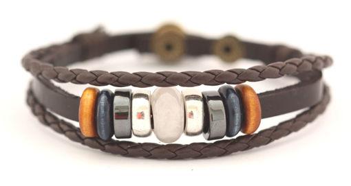 Picture of Bracelet - Beaded Leather (Rose Quartz)