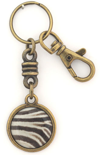 Picture of Key Ring - Charmed Round with Clip (Zebra Print)