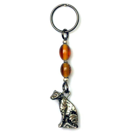 Picture of Key Ring - Amber Glass Beaded (Leopard)