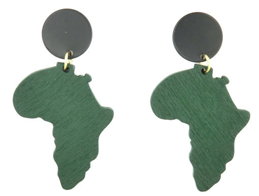Picture of Earrings - Wooden Africa (Green)