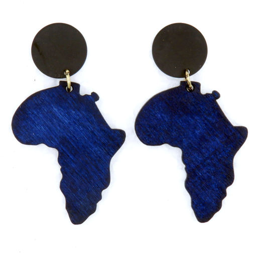Picture of Earrings - Wooden Africa (Navy Blue)