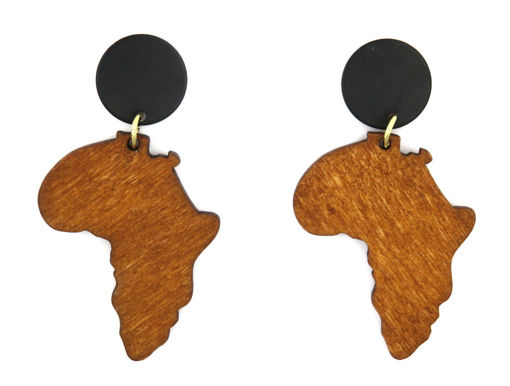 Picture of Earrings - Wooden Africa (Tan)