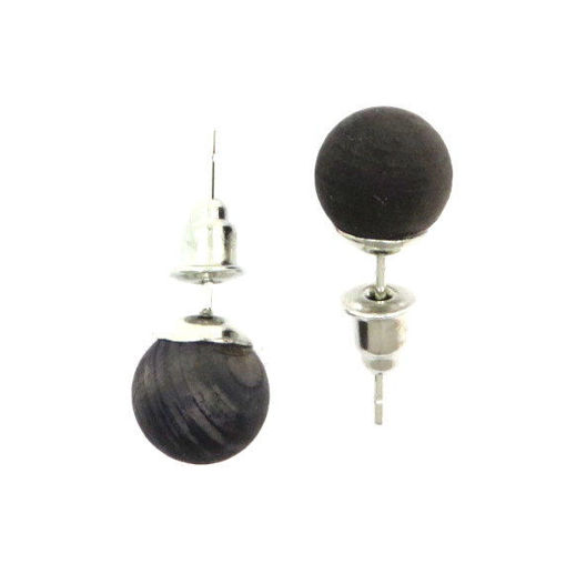 Picture of Earrings - Wooden Stud (Black)