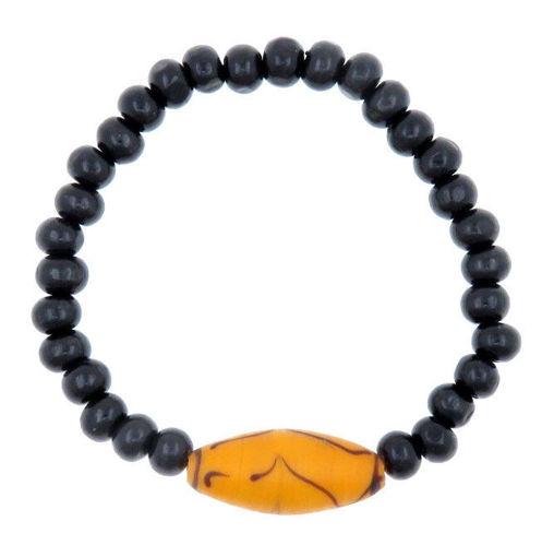Picture of Bracelet - Glass/Wood (Orange/Black)