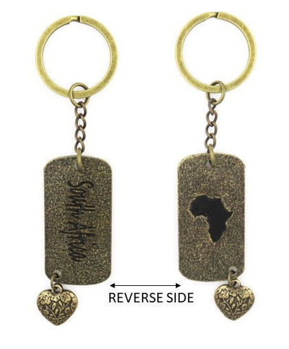 Picture of Key Ring - Double-sided Dog Tag - South Africa (Antique Brass)