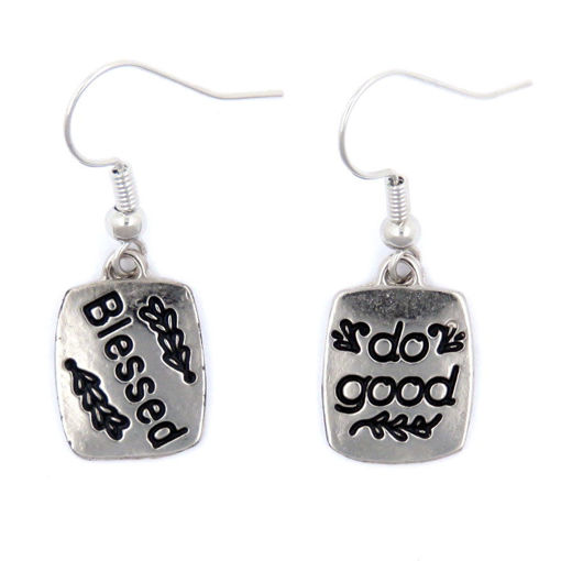 Picture of Earrings - Blessed / do good (Antique Nickel)