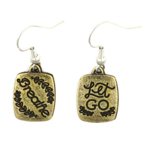 Picture of Earrings - Breathe / Let Go  (Antique Brass)