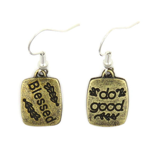 Picture of Earrings - Blessed / do good  (Antique Brass)