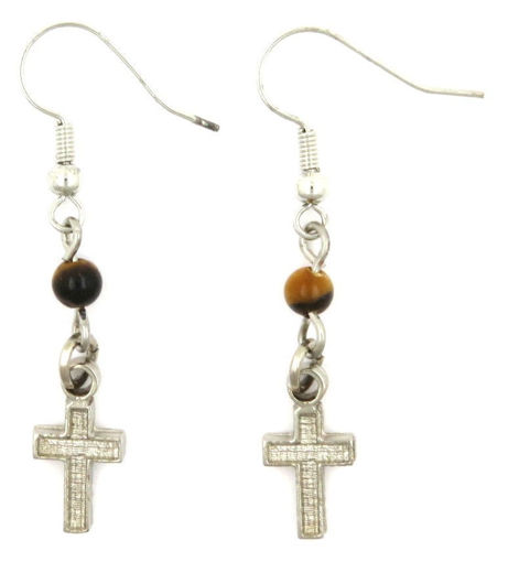 Picture of Earrings - Cross with Tigers Eye Stone