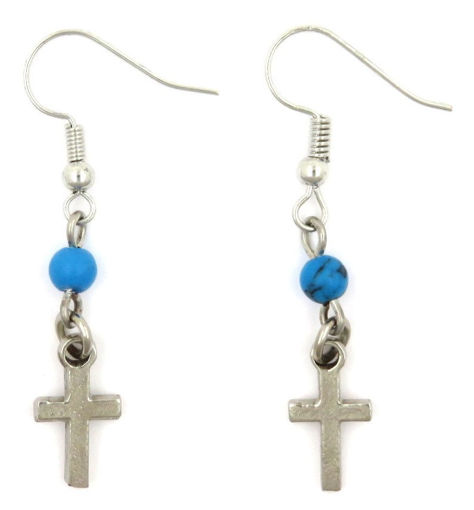 Picture of Earrings - Cross with Blue Stone