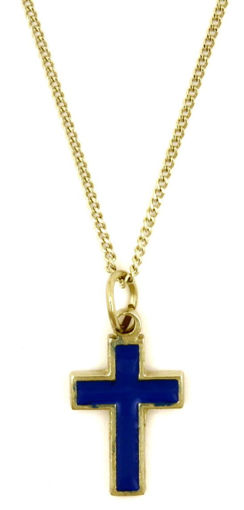 Picture of Necklace - Blue Painted Cross on Chain