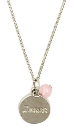 Picture of Necklace - Jesus Pendant with Pink Stone on Chain