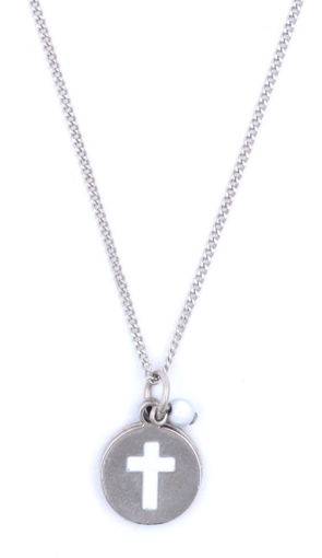 Picture of Necklace - White Painted Cross with White Stone on Chain