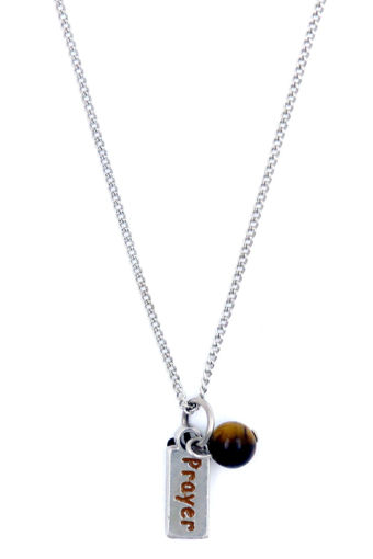 Picture of Necklace - Brown Painted Prayer with Tigers Eye Stone on Chain