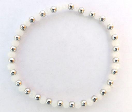 Picture of Bracelet - White Beaded Elastic
