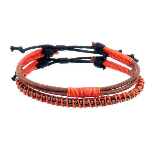 Picture of Bracelets - Leather (Tan/Burgundy)